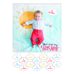 "Cartes étapes bébé + Lange fond photo ""You are my sunshine"""