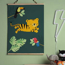 Poster tigre jungle chambre enfant (support bois non fourni)