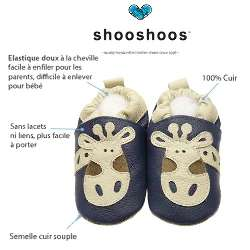 CHAUSSON CUIR SOUPLE - SHOOSHOOS - FUSEE - 6-12 MOIS